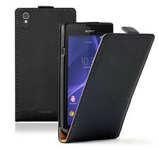 Genuine Real PU Leather Flip Case Up Flip  Cover For Sony Xperia Series BLACK