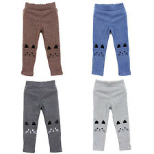 Kids Girl Baby Cute Cat Print Tight Pants Toddler Stretch Warm Leggings Trousers