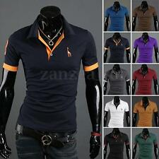 Men's Casual Slim Fit Short Sleeve Polo Shirt Tops Designed Deer T-shirts Tee