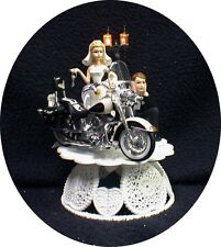 Harley Davidson BLACK Motorcycle Wedding Cake Topper CAN be Glasses Knife, BOOK