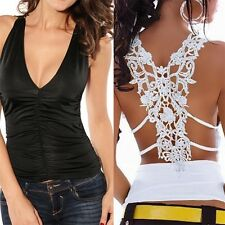 Fashion Women Back Lace Hollow-Out Sleeveless V Neck Vest Tank Tops Blouse TY