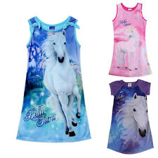 Summer Kids Girls Sleeveless Cartoon Long Casual Dress Clothes Age 4-12Y