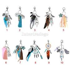 Retro Dreamcatcher&Feather&Tassel Charm Keyring Keychain Women Key Fob Finder