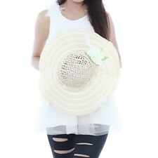 Fashion Women Girls Wide Large Brim Whit Flower Sun Beach Hat Straw Cap Hat - LD