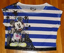 NWT Ladies Disney Mickey Mouse Striped Boxy Cropped Crop Top Lace Trim Shirt