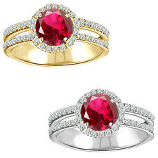 1.75 Carat Diamond Ruby Birth GemStone Halo 14K White/Yellow Gold Solitaire Ring