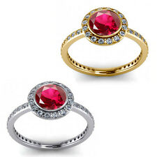 1.50 Carat Diamond Ruby Birth GemStone Halo 14K Yellow-White Gold Solitaire Ring