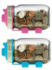 Jarware Mason Canning Jar Coin Piggy Bank Adapter Lid - Blue or Pink