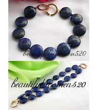 "X0263 8"" 14mm nature coin lapis lazuli bracelet bangle"