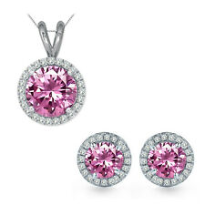 5mm Round CZ Pink Topaz Gem Birth stone Halo Pendant Earring Set Sterling Silver