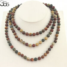 Natural 8MM Round Picasso Jasper Gemstone Beads Knot Jewelry Strand Necklace