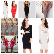 Sexy Women Lady V-Neck Sling Stretchy Midriff-baring Bra Backless Bodycon Dress