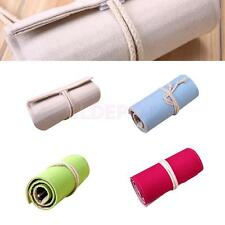 36 Holes Fashion Wrap Roll up Pencil Bags Pen Case Brushes Holder Storage Pouch