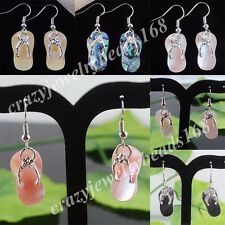 Fashion New Zealand Abalone Shell Beads Art Shoes Dangle Earrings Pair BR050