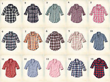 NWT Hollister by Abercrombie Easy Plaid Shirt XS/S/M/L 100% Cotton Blue/Red/Pink