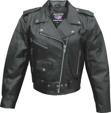 Womens  Black Traditional Leather Motorcycle biker or scooter Jacket sizes $179