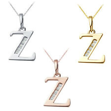 "0.25 CT Diamond Alphabet Letter ""Z"" Initial Pendant Necklace 14K Yellow Gold"