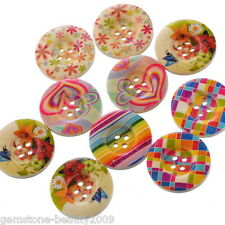 "GB Wholesale  Mixed Pattern 4 Holes Wood Sewing Buttons Scrapbooking 25mm(1"")"