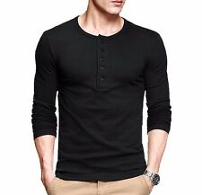 5 Colors Mens T-Shirt Casual Henley  Long Sleeve Slim Flexibility BasicTee M-XXL