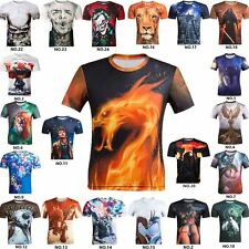 2016 3D Mens T-shirt Cotton Casual crew neck Short Sleeves Tee Tops Blouse US