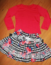 GIRLS TOP & CORAL FLORAL HALEQUIN PRINT LACE TRIM RUFFLE PARTY SKIRT with BELT