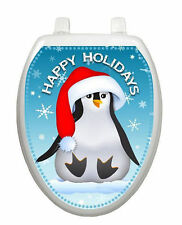 Happy Penguin Toilet Tattoo  Removable Reusable Bathroom Christmas Decoration
