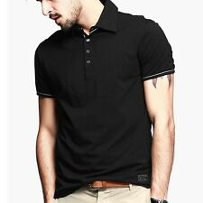 Cotton Mens Polo Shirt Short Sleeve T-shirt Fitted Solid Basic Tee M L XL XXL