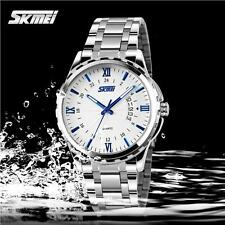 SKMEI Men Stainless Steel Wristwatch Business Luminous Quartz Analog Watch Q6W0