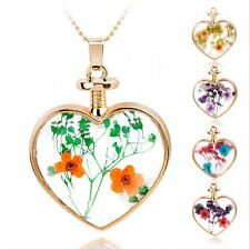 Love Handcraft Real Dried Pressed Flower Long Chain Necklace Heart Glass Locket