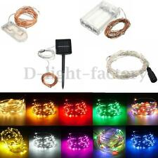 1-20M Battery/Solar/12V LED MICRO Silver Copper Wire Fairy String Lights Xmas