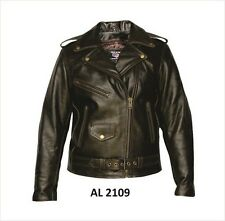 Womens  Retro Brown Premium Buffalo Leather Motorcycle biker Jacket $249
