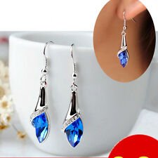 Stylish Women's White Silver Plated Crystal Drop Dangle Earrings Hook Jewelry