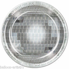 "8 Disco 70's Silver Mirror Ball Birthday Party 9"" Round Paper Dinner Plates"