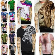 Fashion 3D Men T-shirt Cotton Casual crew neck Short Sleeves Tee Tops Blouse CA