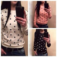 Fashion Women Long Sleeve Five-Pointed Star Printed Casual Tops Blouse Hoodies
