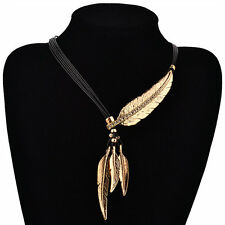 Tassels Crystal Chunky Statement Bib Leaf Pendant Chain Choker Necklace CHI