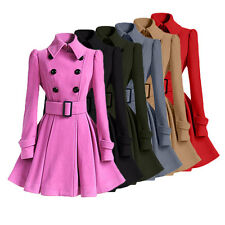 Women Autumn Winter Double-Breasted Trench Coat Trench Jacket Outwear With Belt