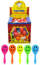 MINI MARACAS SMILE TOYS GIRLS BOYS SMILEY FACE PARTY BAG CHOOSE QUANTITY