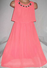 GIRLS NEON CORAL NECKLACE TRIM CALF LENGTH CHIFFON SPECIAL OCCASION PARTY DRESS