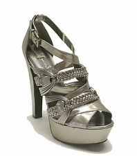Jessica Simpson $98 Pewter Metallic Platform PARISSA Women's Shoes Sz 9.5