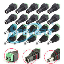 Male & Female 2.1x5.5mm DC Power Jack Plug Adapter Connector for CCTV Camera LED