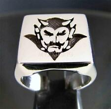 SQUARE SILVER SIGNET RING DEVIL LUCIFER SATANAS EVIL DEMON ANTIQUED ANY SIZE