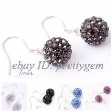 10MM ROUND DISCO CRYSTAL BALL TIBETAN SILVER FINISHED JEWELLERY EARRINGS 1 PAIR