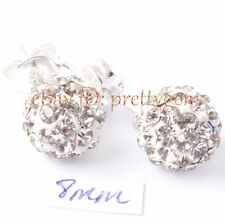 FASHION STYLE 8MM ROUND DISCO CRYSTAL BALL&WHITE SILVER PLATED STUD EARRINGS