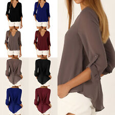 Graceful Women V-Neck Long Sleeve Slim Button Front Casual Shirts Tops Blouse