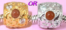 SOLID 925 S Silver Gold Sand Stone Cz Charm BEAD w Vemeil gold / Rhodium Finish