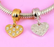 SOLID Sterling Silver Rhodium or Vermeil Gold CZ HEART BEAD Fit Charm Bracelet