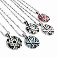 Celtic Wicca Pentagram Star multiple Colour Amulet Stainless Steel Pendant Chain