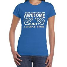 ALM786t-Womens Funny Sayings Slogans Novelty T Shirts-AWESOME AUNTY tshirt