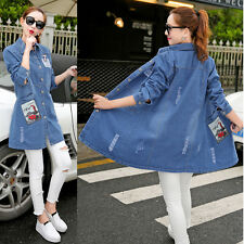 Women's Girl Slim Long Sleeve Denim Jacket Fashion Casual Jean Coat Parka Slim